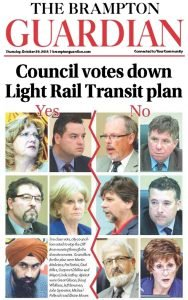 The headline on the Brampton Guardian newspaper, as it appeared on October 29, 2015.