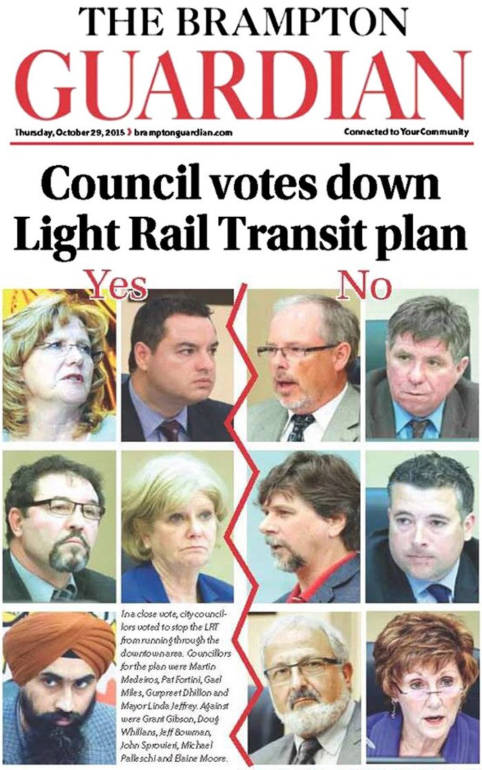 Front page of The Brampton Guardian, October 29, 2015, following the LRT decision.
