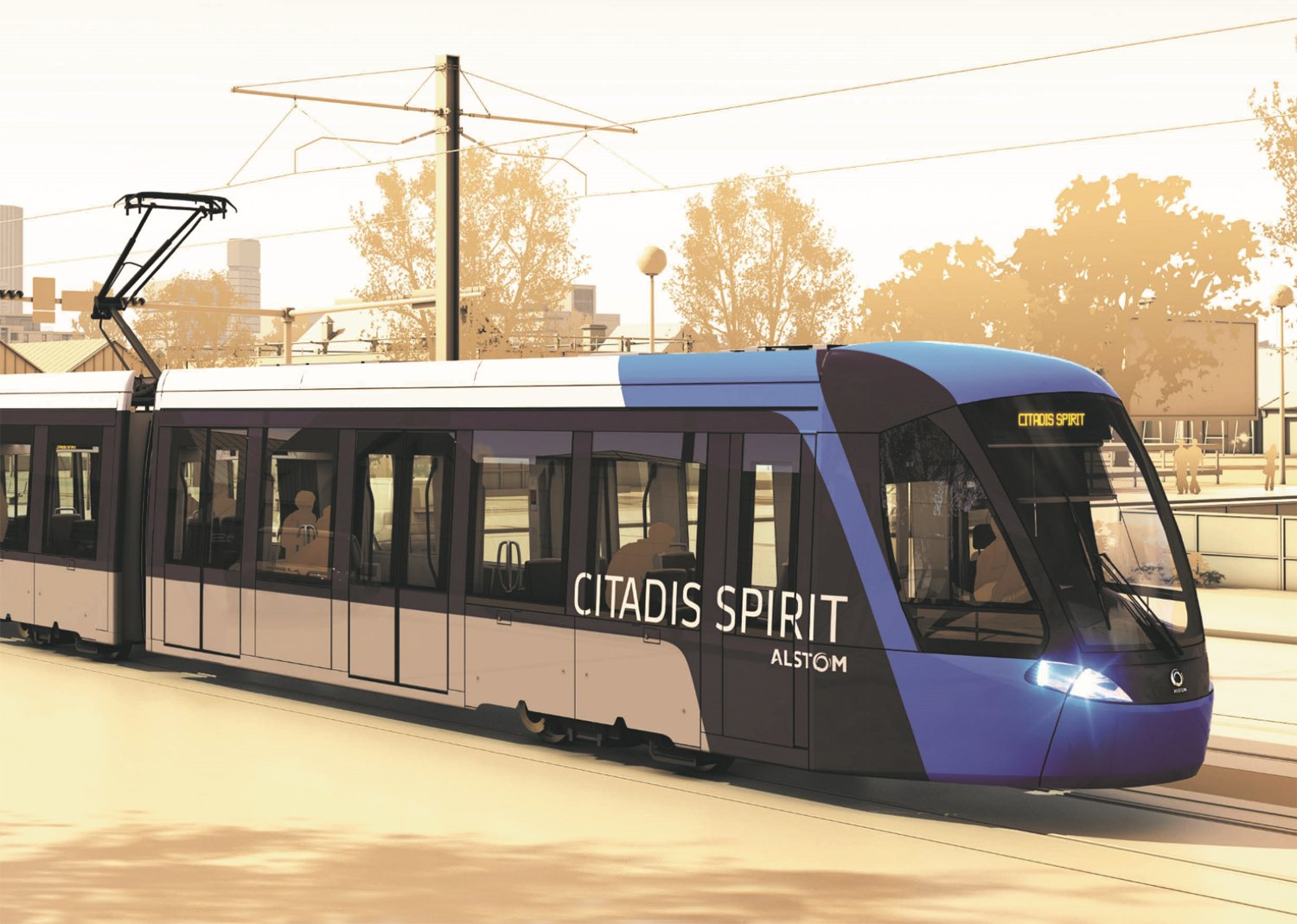 The Alstom Citadis Spirit LRV.