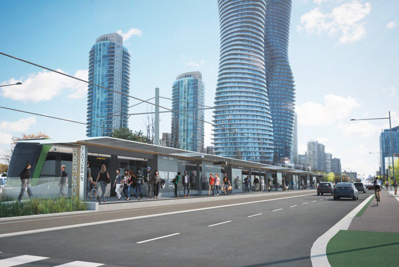 "Hurontario LRT stop in Mississauga, adjacent to Square One, and the iconic ""Marilyn Monroe"" towers in the skyline."
