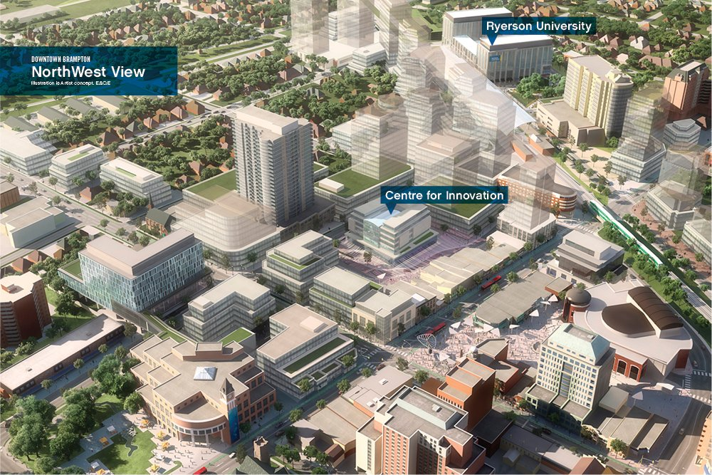 Artist's future concept rendering of the Downtown Brampton area, looking north from City Hall. Source: COB