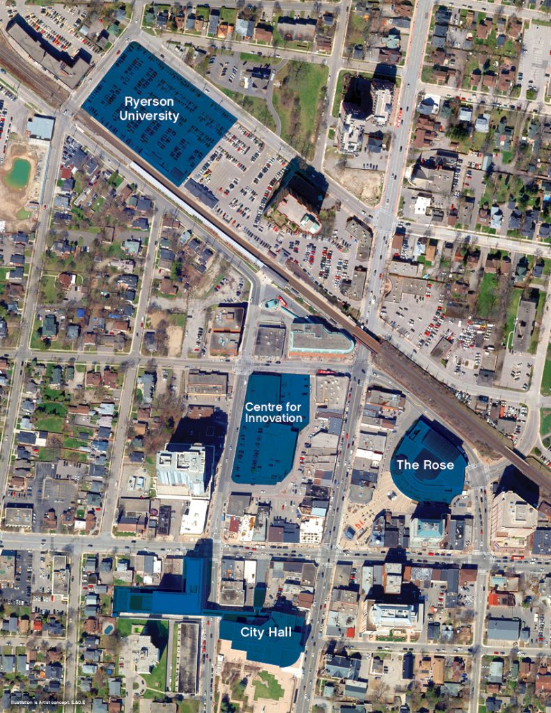 Satellite image depicting the Ryerson University location in Downtown Brampton. Source: COB