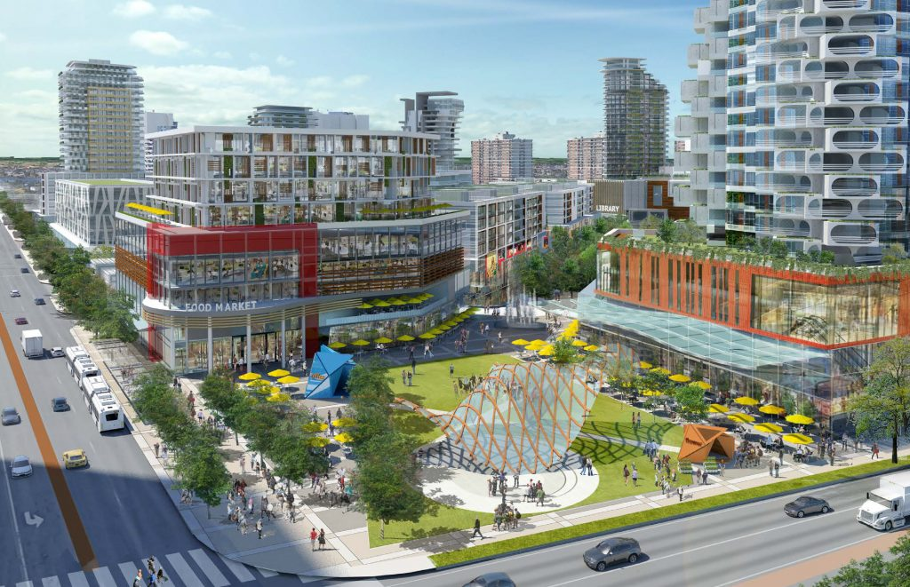 Artist's vision of Brampton Uptown, intersection of Hurontario and Steeles.